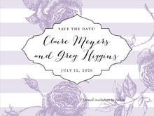 custom save-the-date cards - lilac - striped rose (set of 10)