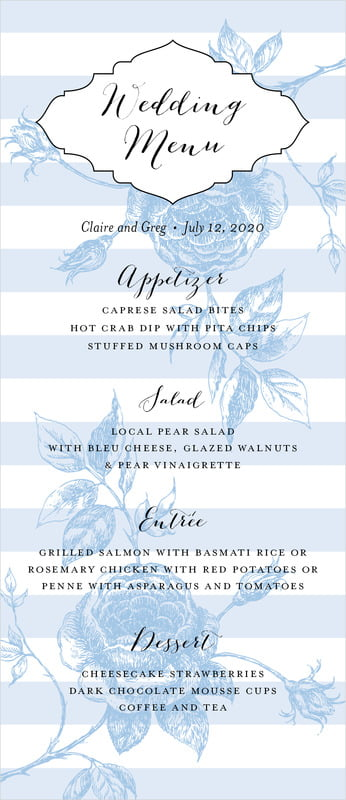 custom menus - blue - striped rose (set of 10)