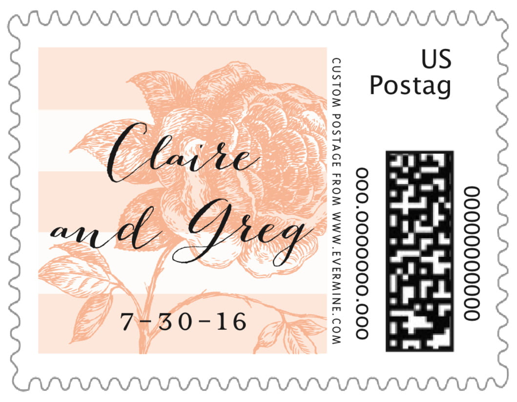 small custom postage stamps - peach - striped rose (set of 20)