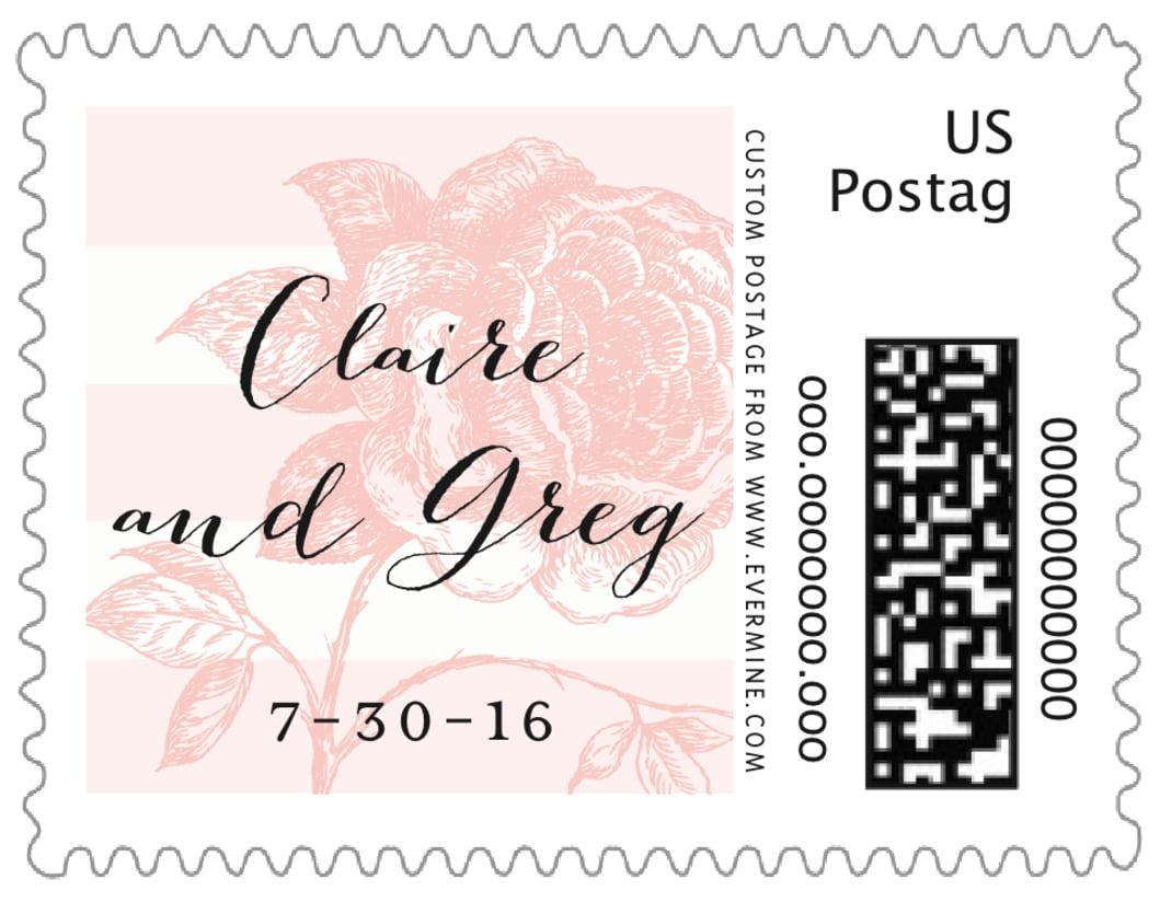 small custom postage stamps - grapefruit - striped rose (set of 20)