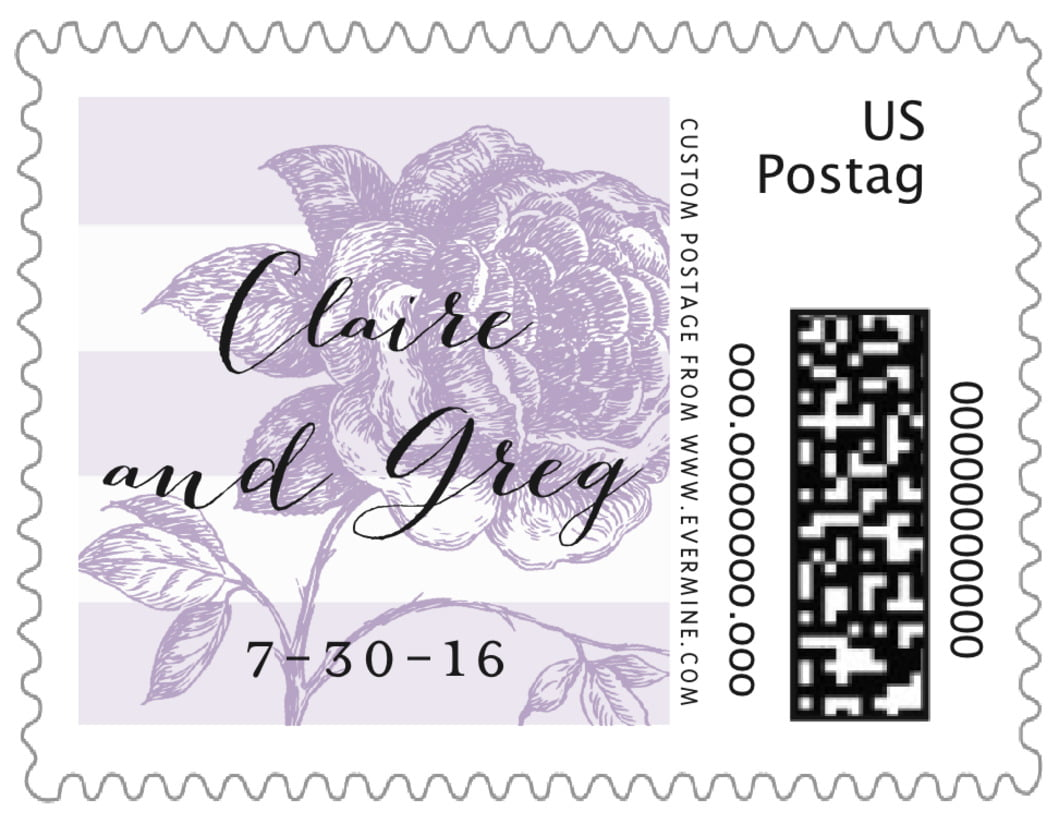 small custom postage stamps - lilac - striped rose (set of 20)