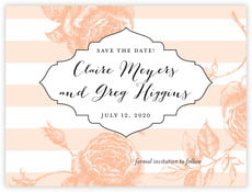 Striped Rose save the date cards