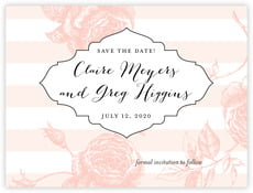 Striped Rose Save The Date Card In Grapefruit