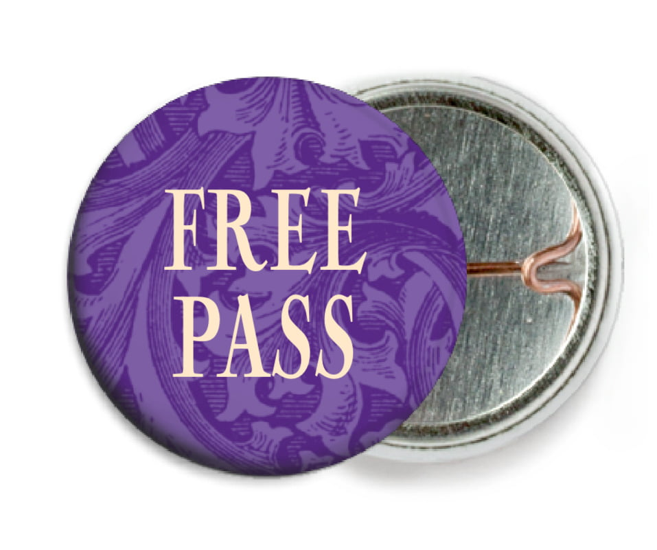 custom pin back buttons - purple - renaissance (set of 6)