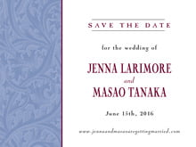 custom save-the-date cards - blue & wine - renaissance (set of 10)
