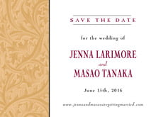 custom save-the-date cards - gold & wine - renaissance (set of 10)