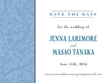 custom save-the-date cards - blue - renaissance (set of 10)