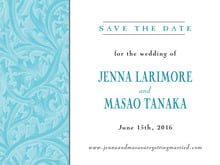 custom save-the-date cards - bahama blue - renaissance (set of 10)