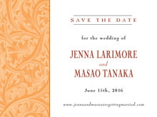 custom save-the-date cards - tangerine - renaissance (set of 10)