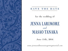 custom save-the-date cards - deep blue - renaissance (set of 10)