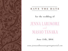 custom save-the-date cards - cocoa & pink - renaissance (set of 10)
