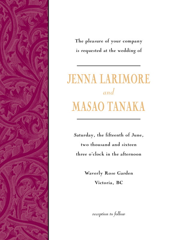 custom invitations - wine & gold - renaissance (set of 10)
