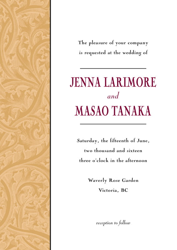 custom invitations - gold & wine - renaissance (set of 10)