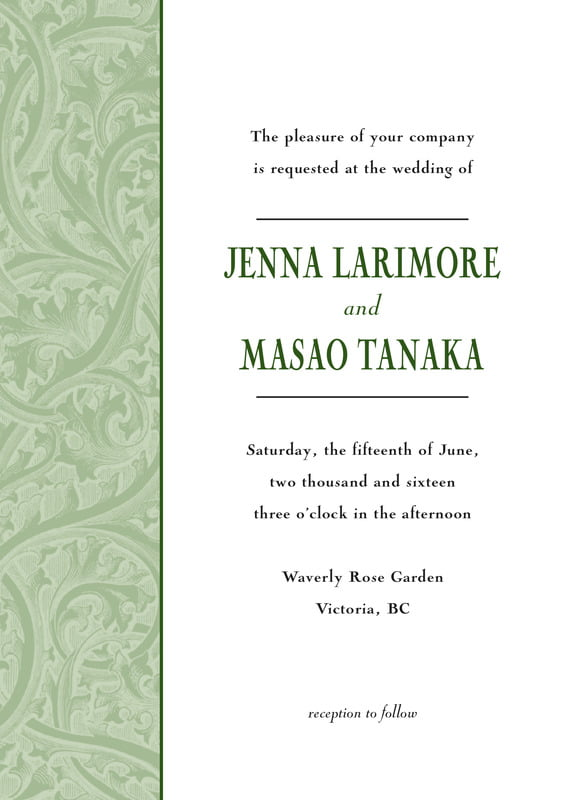 custom invitations - sage - renaissance (set of 10)