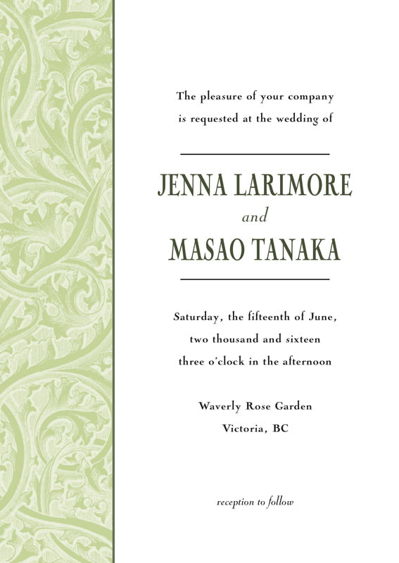 custom invitations - green tea - renaissance (set of 10)