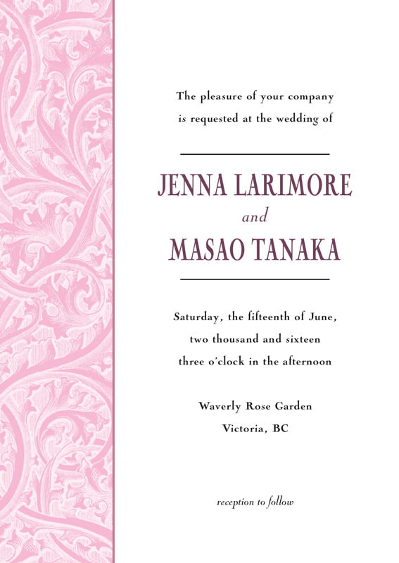 custom invitations - pale pink - renaissance (set of 10)