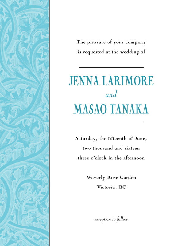 custom invitations - bahama blue - renaissance (set of 10)