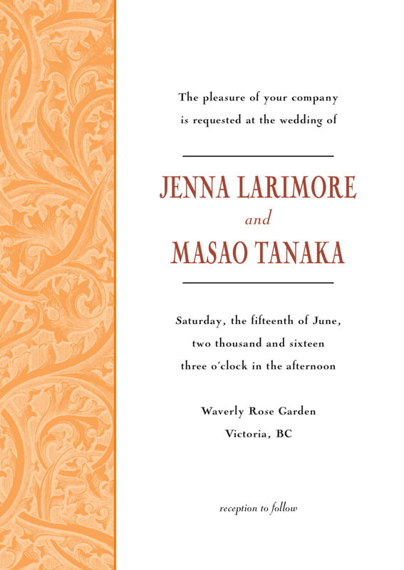custom invitations - tangerine - renaissance (set of 10)