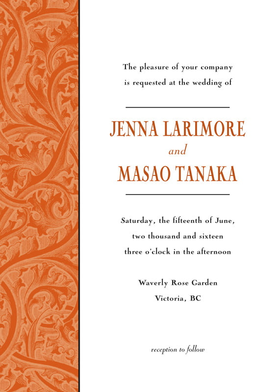 custom invitations - spice - renaissance (set of 10)