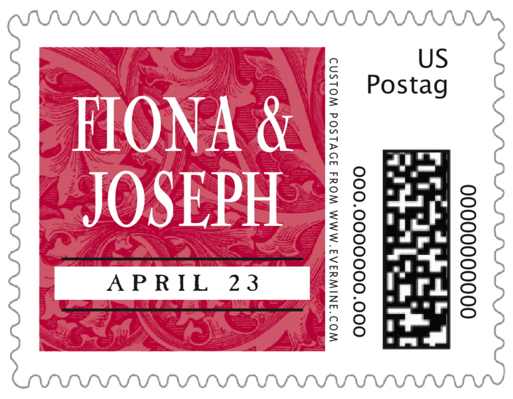 small custom postage stamps - deep red - renaissance (set of 20)