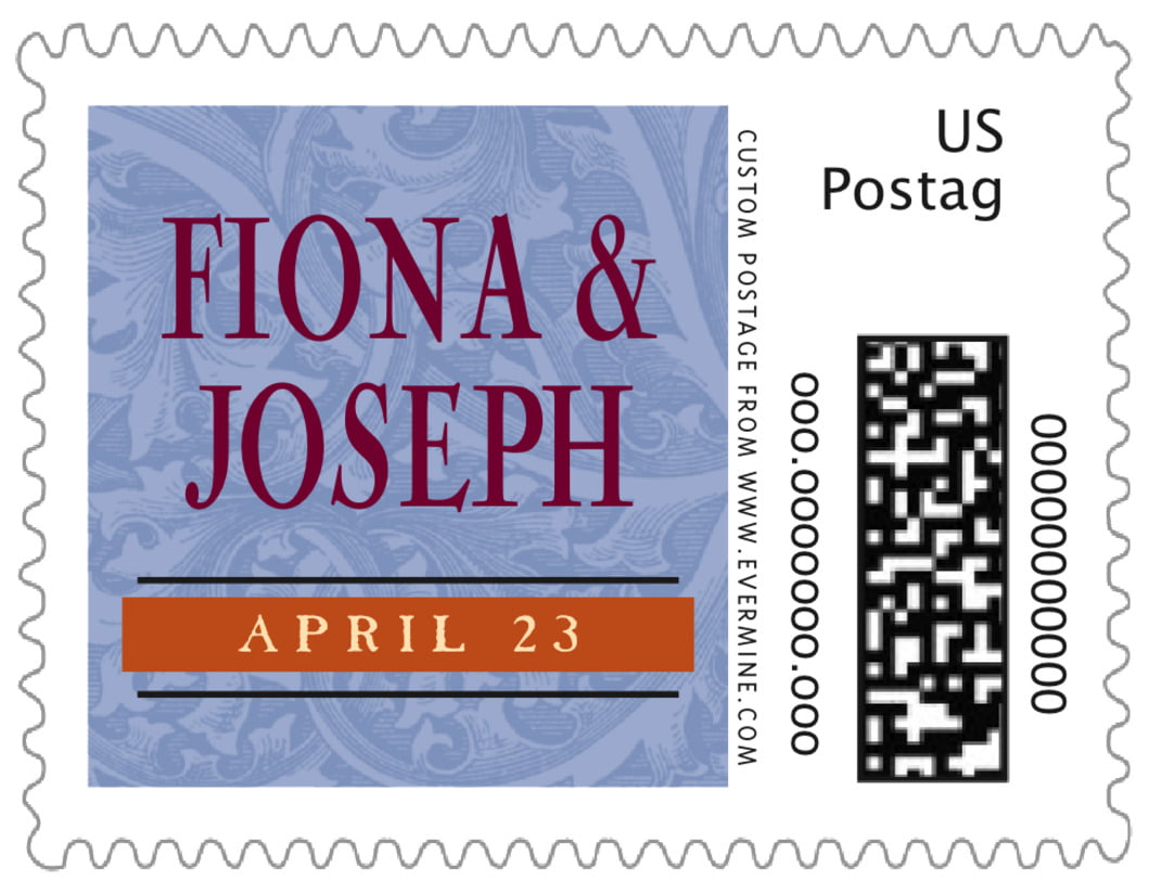 small custom postage stamps - blue & wine - renaissance (set of 20)