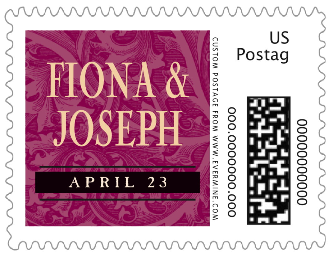 small custom postage stamps - wine & gold - renaissance (set of 20)