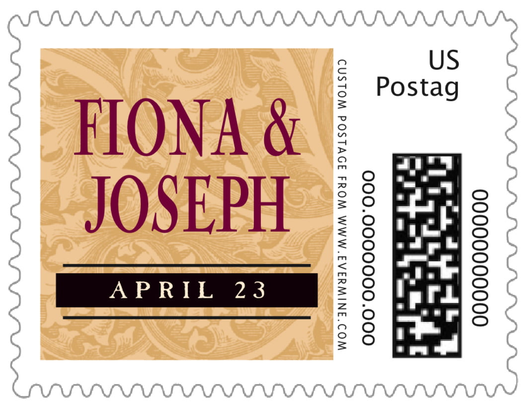 small custom postage stamps - gold & wine - renaissance (set of 20)