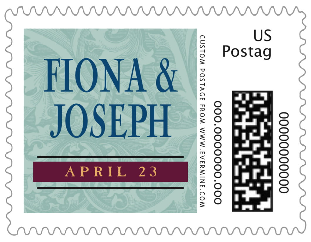 small custom postage stamps - jade & wine - renaissance (set of 20)