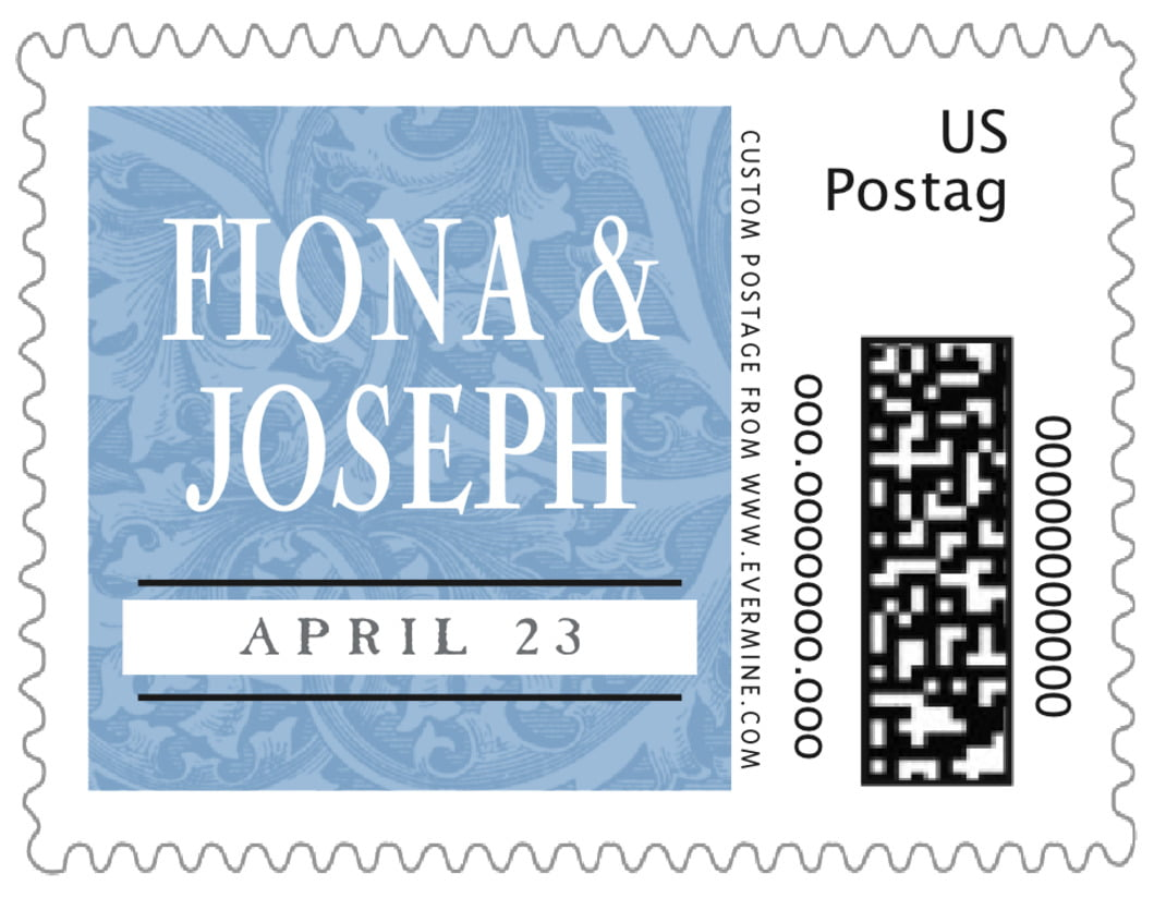 small custom postage stamps - blue - renaissance (set of 20)