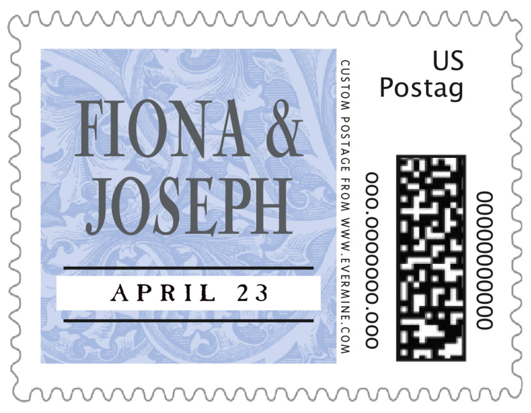 small custom postage stamps - periwinkle - renaissance (set of 20)