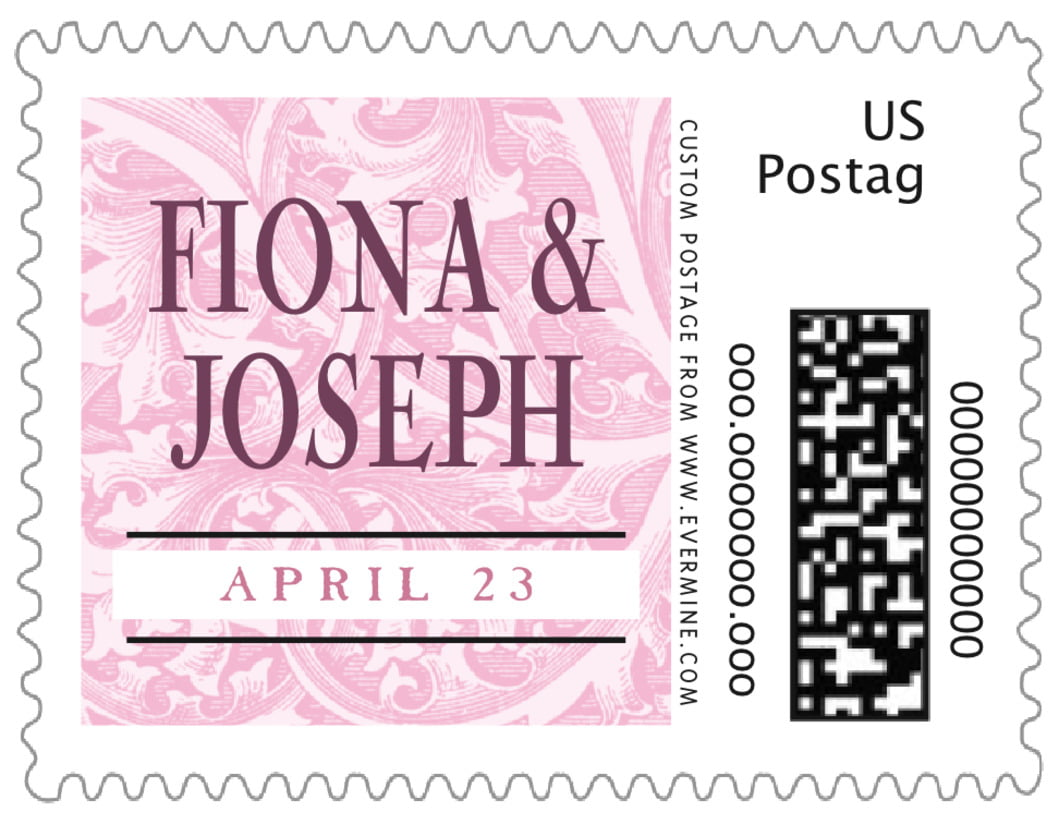 small custom postage stamps - pale pink - renaissance (set of 20)