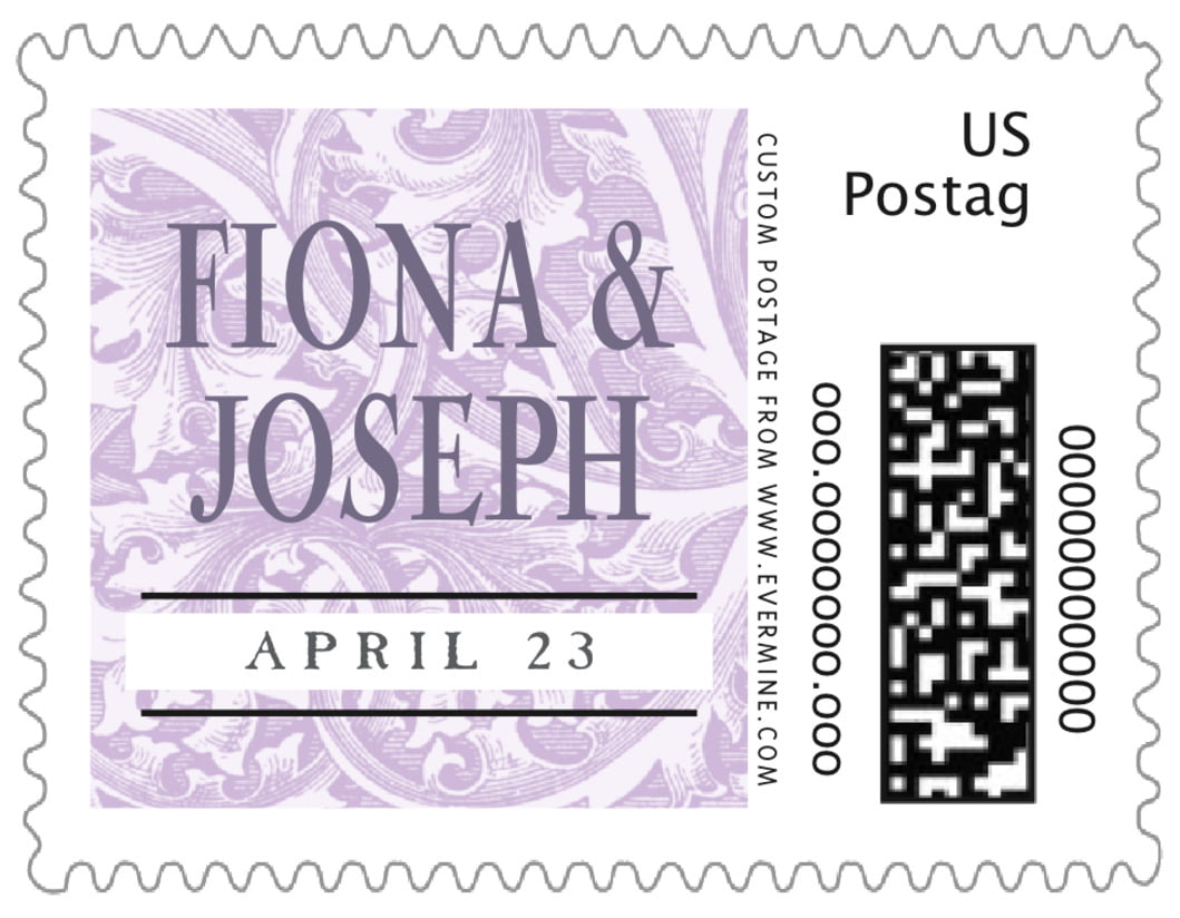 small custom postage stamps - lilac - renaissance (set of 20)