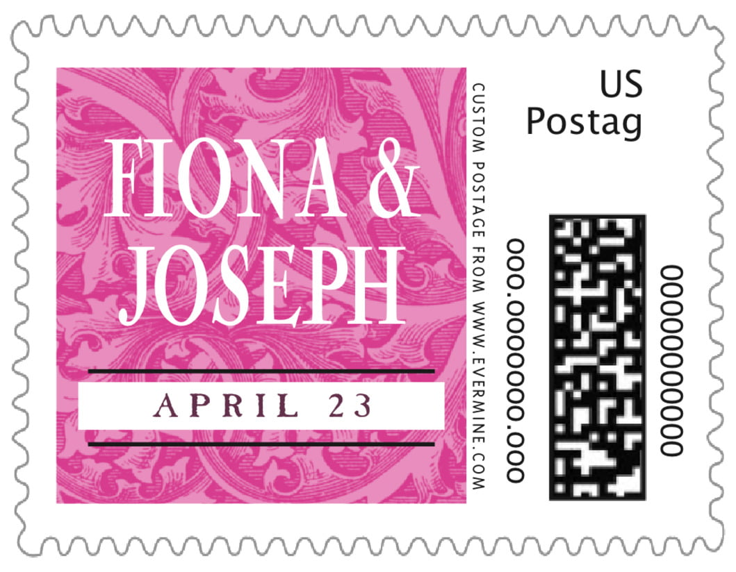 small custom postage stamps - bright pink - renaissance (set of 20)