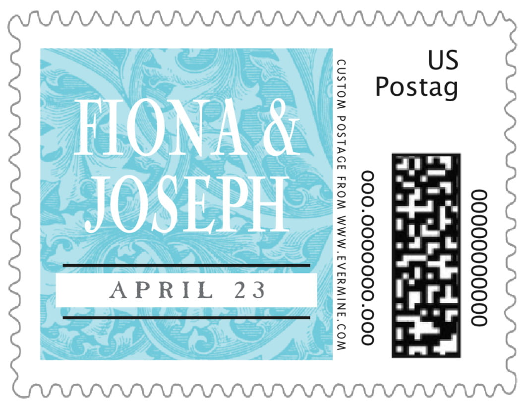 small custom postage stamps - bahama blue - renaissance (set of 20)