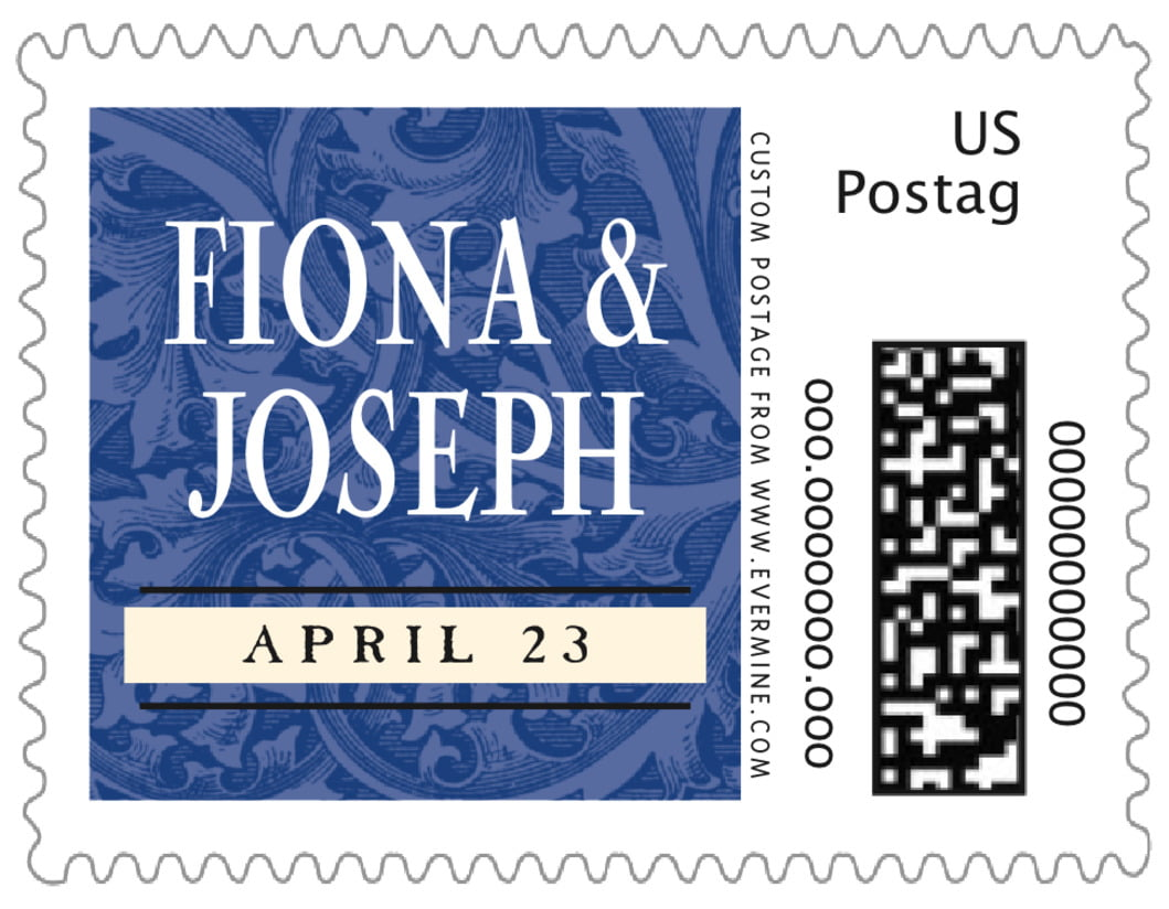 small custom postage stamps - deep blue - renaissance (set of 20)