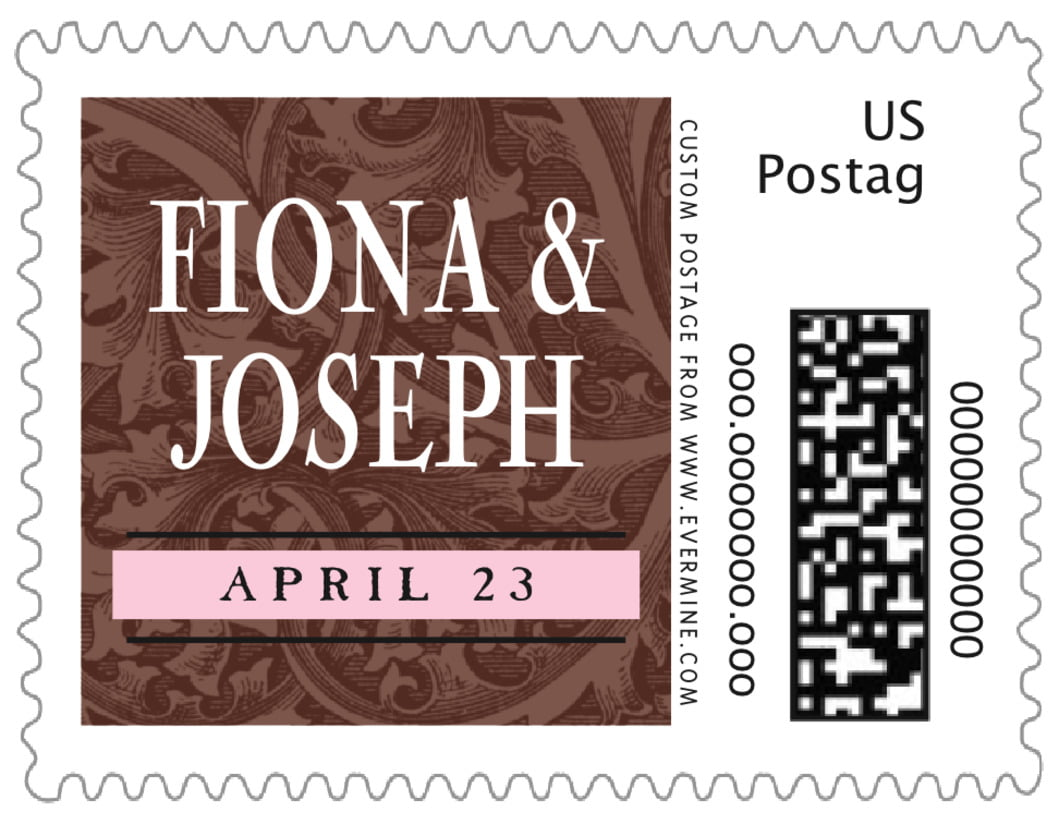 small custom postage stamps - cocoa & pink - renaissance (set of 20)