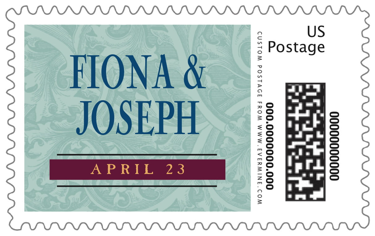 custom large postage stamps - jade & wine - renaissance (set of 20)