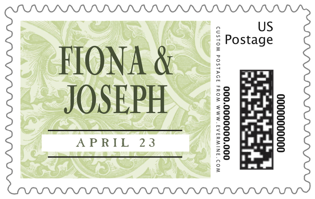 custom large postage stamps - green tea - renaissance (set of 20)