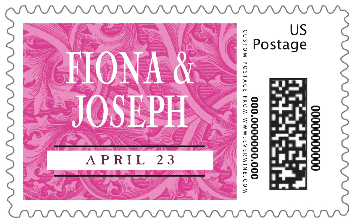 custom large postage stamps - bright pink - renaissance (set of 20)