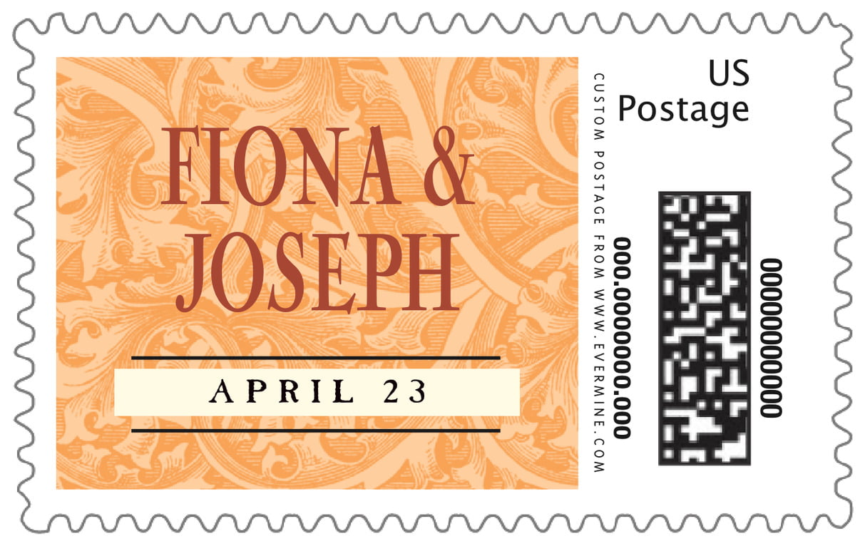 custom large postage stamps - tangerine - renaissance (set of 20)