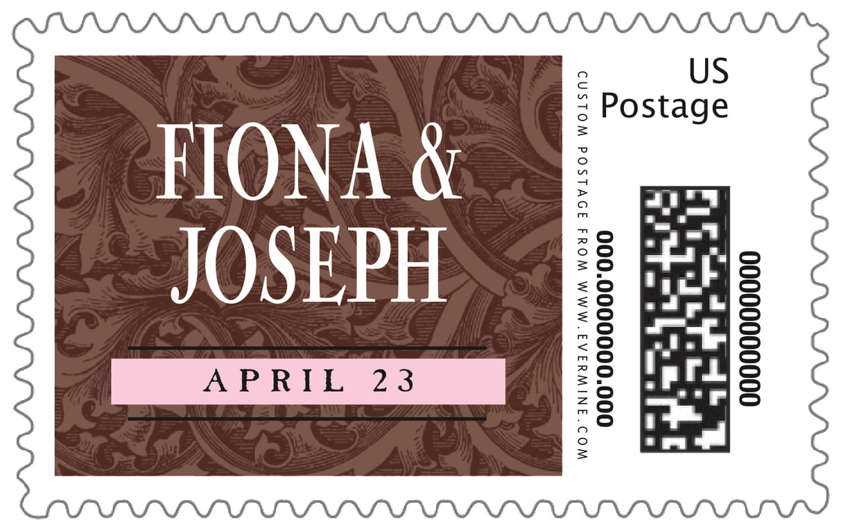 custom large postage stamps - cocoa & pink - renaissance (set of 20)