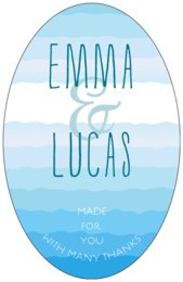 Ruffled Ombre tall oval labels