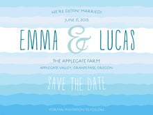 custom save-the-date cards - bahama blue - ruffled ombre (set of 10)