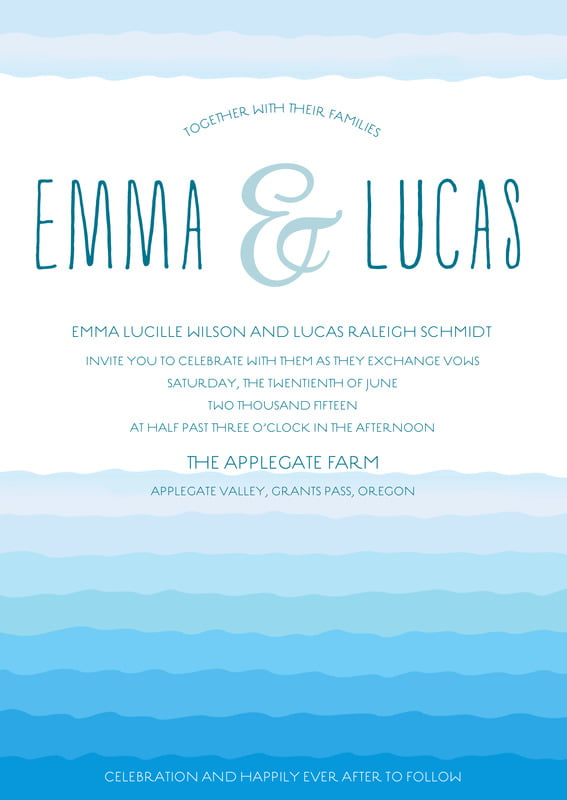 custom invitations - bahama blue - ruffled ombre (set of 10)