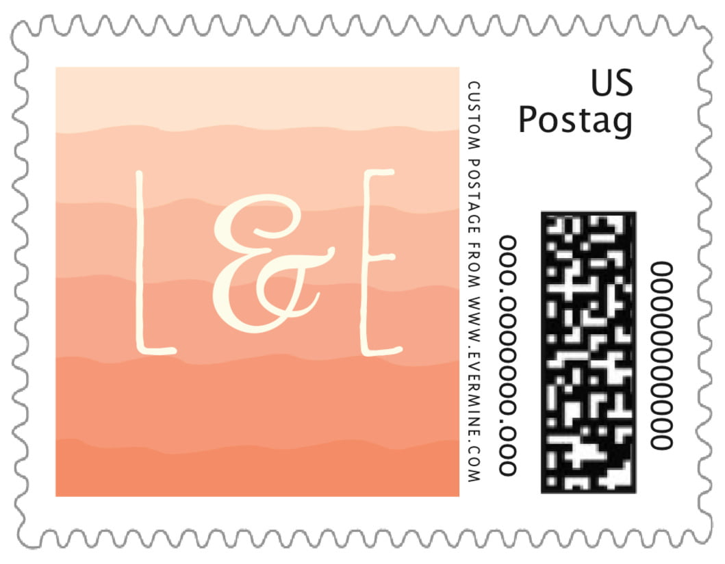 small custom postage stamps - peach - ruffled ombre (set of 20)