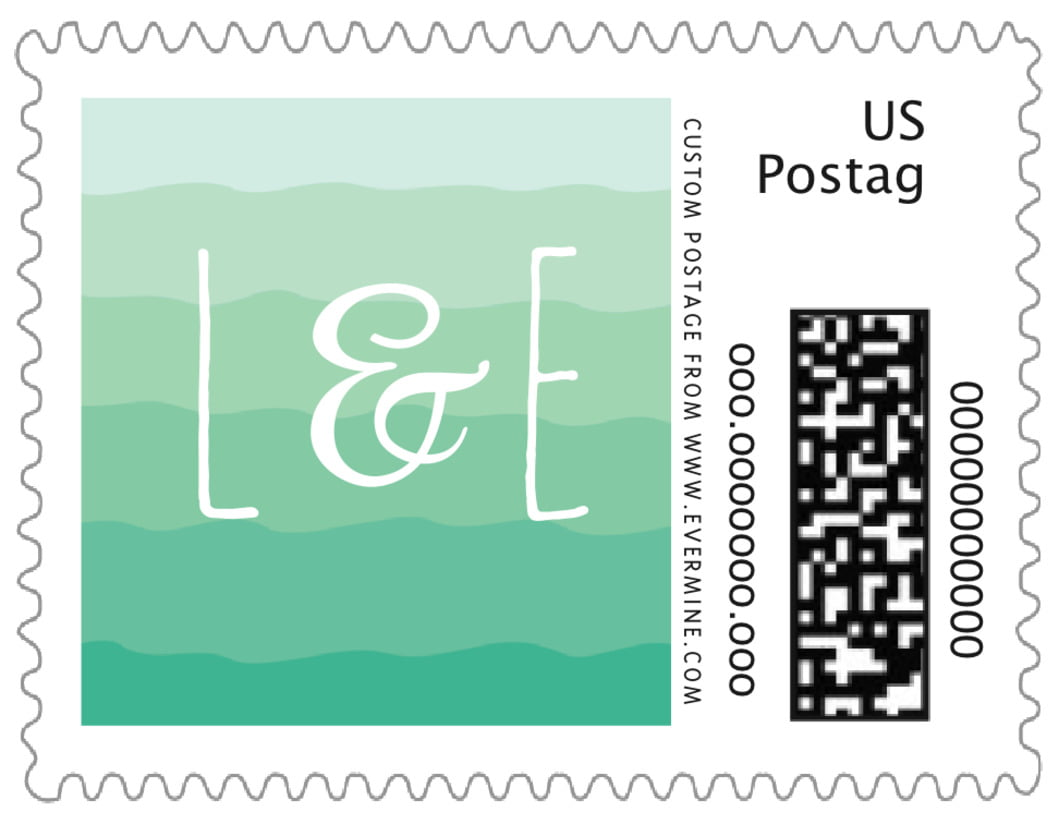 small custom postage stamps - kelly green - ruffled ombre (set of 20)
