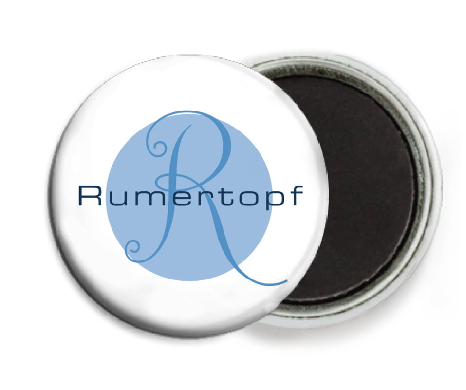 custom button magnets - blue - riva (set of 6)