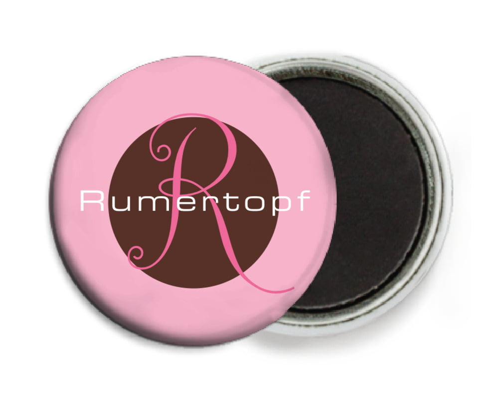 custom button magnets - cocoa & pink - riva (set of 6)
