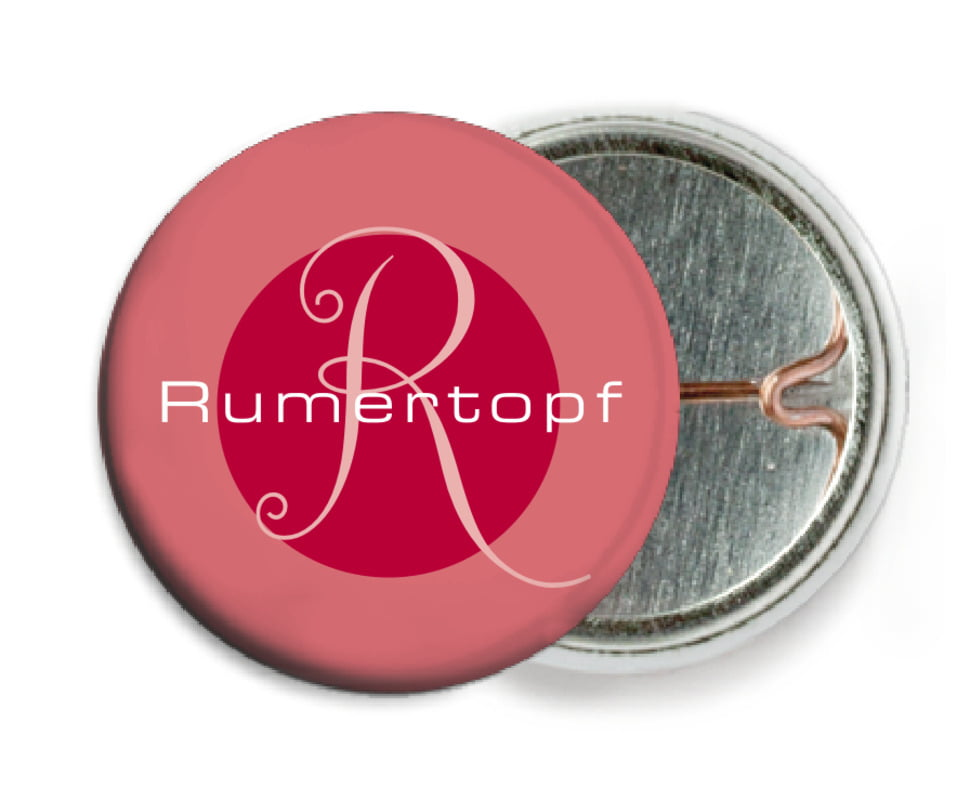 custom pin back buttons - deep red - riva (set of 6)