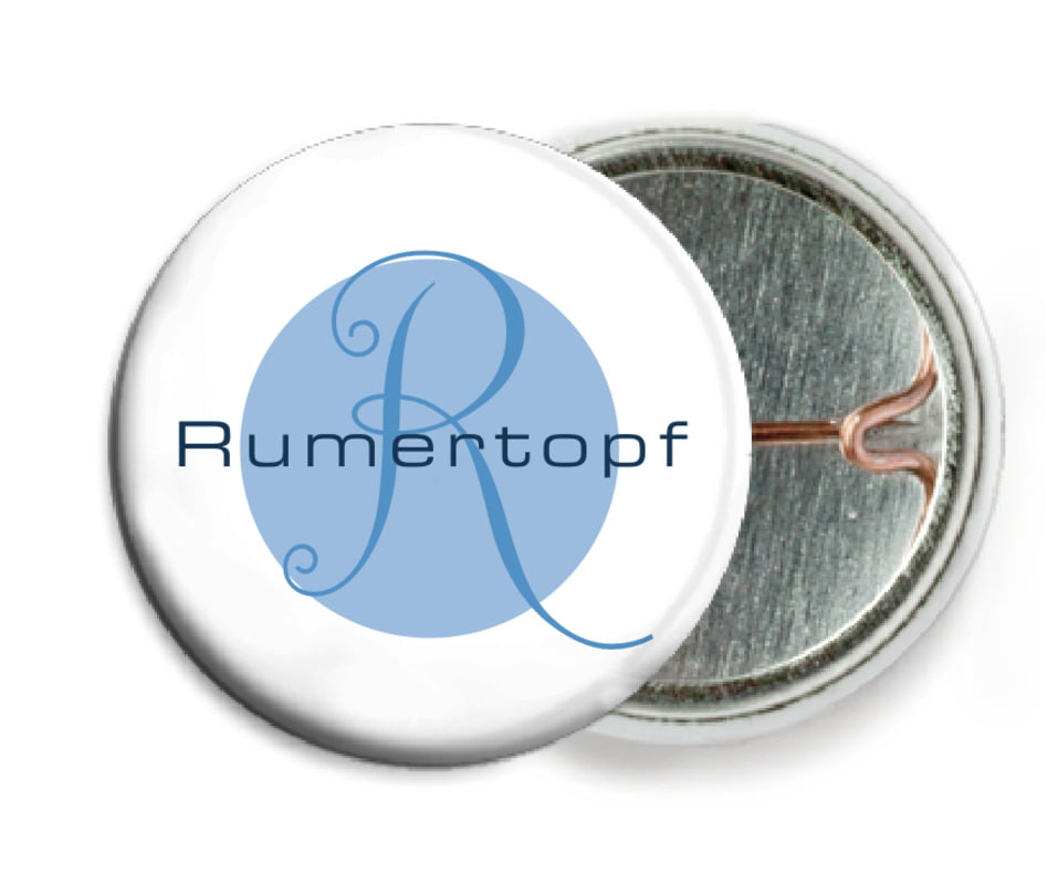 custom pin back buttons - blue - riva (set of 6)